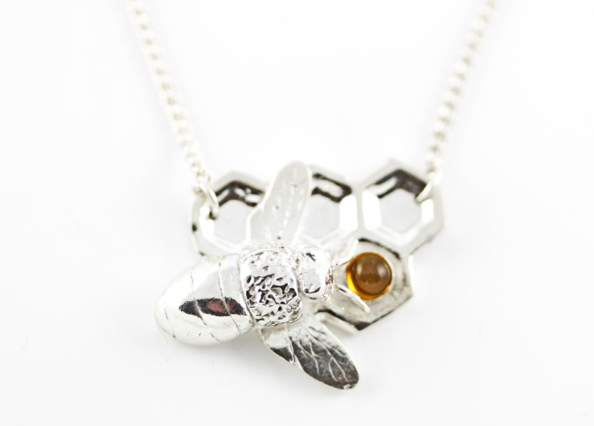 silver bee and honeycomb necklace
