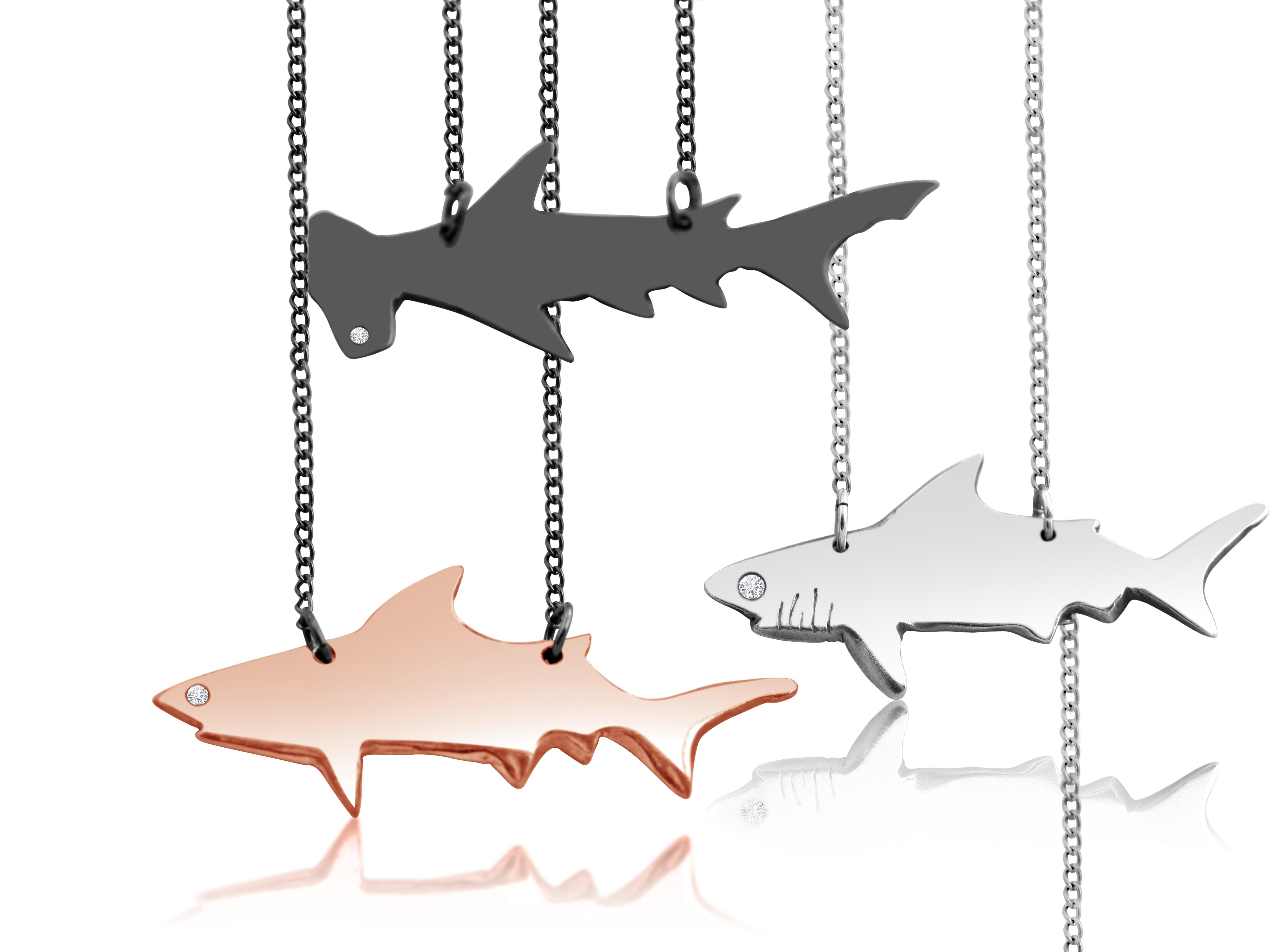 views pendant shark necklace hammerhead more