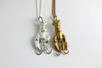 gold and silver lobster necklace