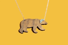 wooden bear necklace with silver hat