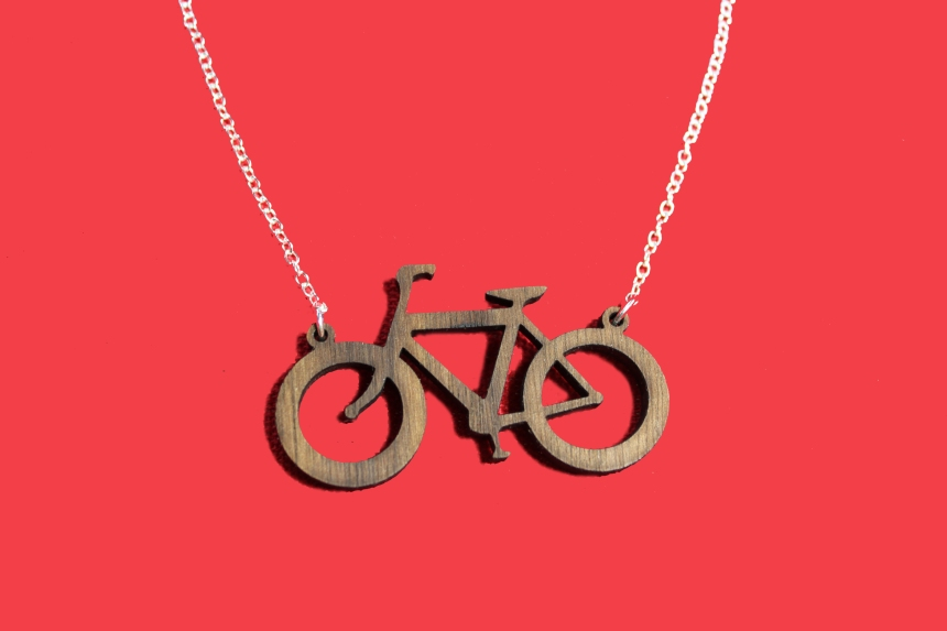 wooden bicycle necklace on silver chain