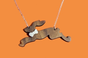 wooden hare necklace with silver bowtie