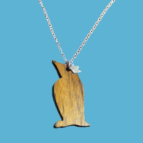 wooden penguin necklace with silver crown