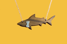 wooden shark necklace with silver bowtie