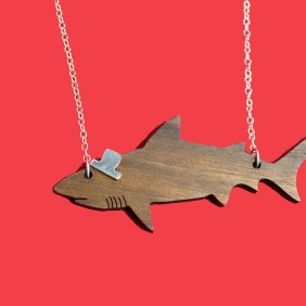 wooden shark necklace with silver hat